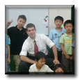 ESL Teacher Peter with his class of students