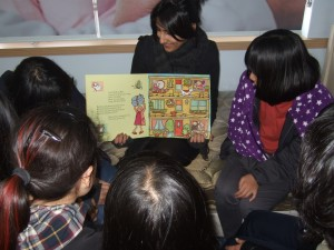 Uzma Ali with her class in South Korea
