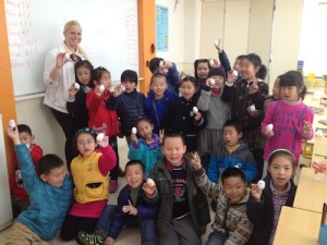 Jena Saseen with her class