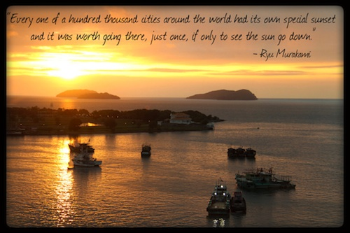 Kota Kinabalu Sunset - Ryu Murakami Quote