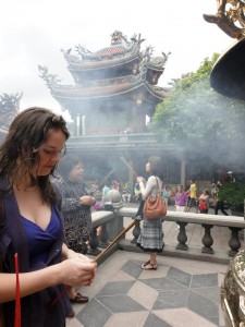 Heather at at Taiwanese Temple