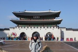 Tiffany Molyneux with a Korean temple