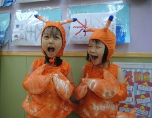 Casey and Dan Kindergarten Students Dressed as Lobsters