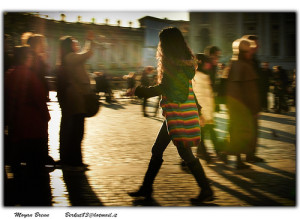 Walking girl in a crowd